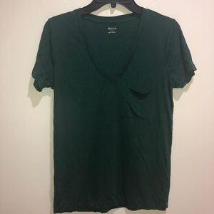 Madewell Size Small Green, V Neck Short Sleeve T